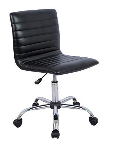 AmazonBasics Modern Adjustable Low Back Armless Ribbed Task Desk Chair, Black, BIFMA Certified