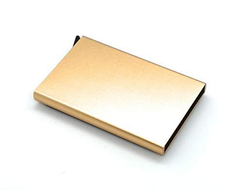 J&J - Porta Tarjetas de crédito de Aluminio antifraude, Porta Papel rígido con protección RFID automática, Porta Tarjetas Elegante para Viajes y Negocios - Mujer y Hombre (Oro)