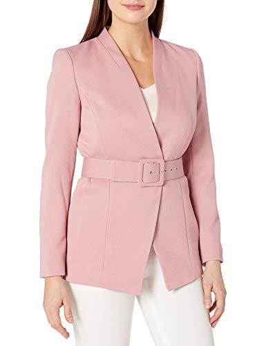 Tahari ASL Women's Collarless Belted Jacket, Make up Pink, 4