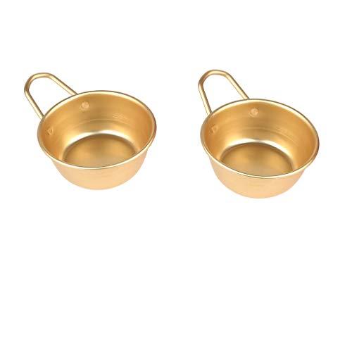 F Fityle 2個セット サービングボウル 韓国 伝統ボウル アルミニウム製 料理碗 料理ボウル 熱伝導が良い 軽い ガスコンロ専用 ご飯ボウル マッコリカップ 韓国食器 (取っ手付き*2個)