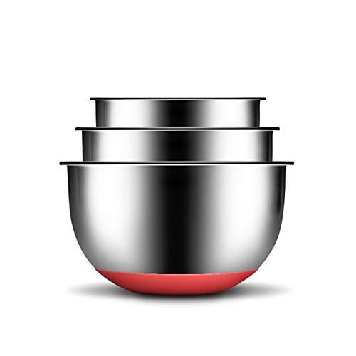SMXGF Becken, 304 Edelstahl Salat-Topf, Dreiteilige Geschmack Silikon-Pad Anti-Rutsch-Spültechnik und Nudel Gewürz Bacon, DREI, Silber, (Color : Silver)