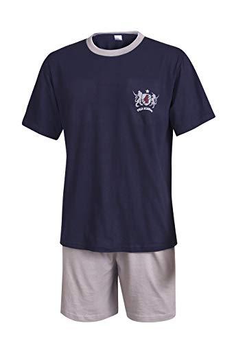 Herren Schlafanzug kurz in verschiedenen Ausführungen Herren Pyjama kurz Herren Shorty Schlafanzug aus 100{260b5667afb9391ce158bbd331ef52fd587832e1b8280b7c8f8c90bf28fea0e6} Baumwolle (L, Marine)