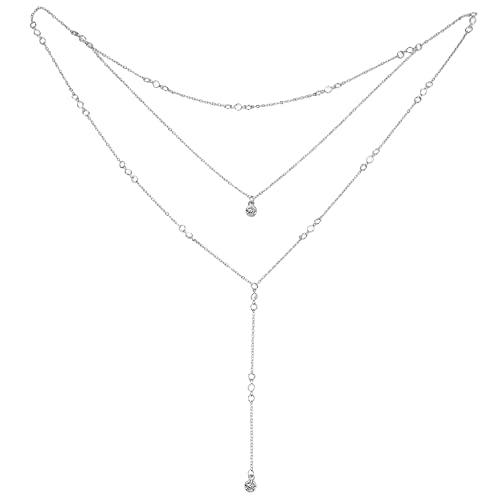 zwyjd Strass zurück Tropfen Halskette rückenfreies Kleid Quaste Crossover Kulisse Halskette Hochzeit Brautschmuck Körper Kette Geschenke,Silber