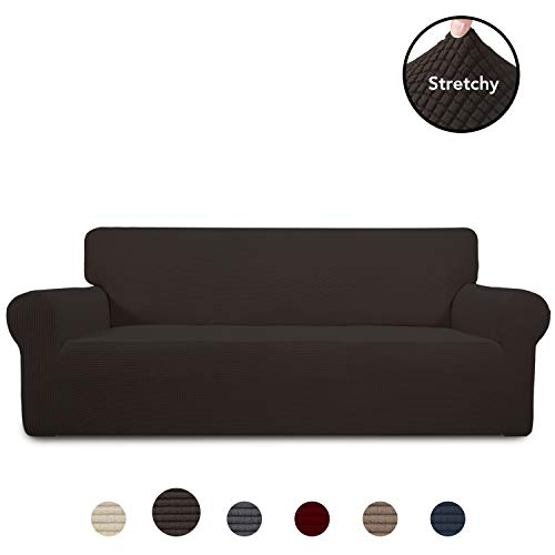 PureFit Stretch Sofa Slipcover – Spandex Jacquard Non Slip Soft Couch Sofa Cover Washable Furniture Protector with Non Skid Foam and Elastic Bottom for Kids Sofa Chocolate