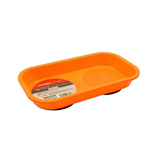 AP 角型プラスチックマグネットトレー オレンジ | トレー マグネット マグネットトレー プラスチック 部品 パーツ 受け皿 磁石 落下防止 四角 収納 整理