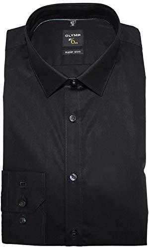 OLYMP Herren Hemd No. 6 Super Slim Fit Langarm, Schwarz, 39