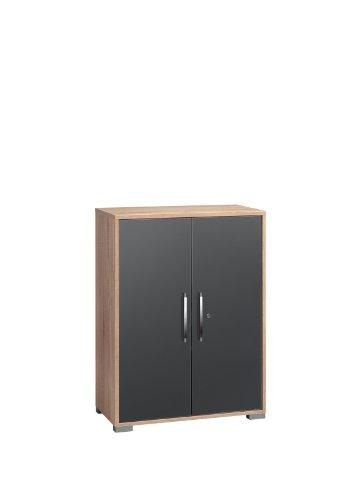 MAJA-Möbel 1226 2574 Aktenregal mit Türen, Sonoma-Eiche-Nachbildung - grau Hochglanz, Abmessungen BxHxT: 80 x 109,7 x 40 cm