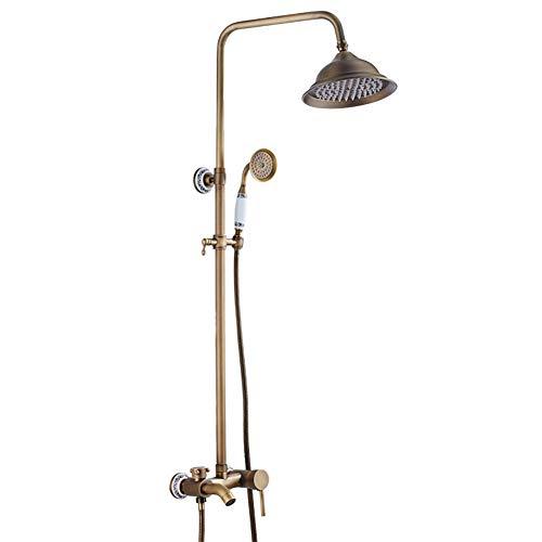 GAOJUAN Dusche Set Messing Antik Keramik Basis Dusche Verstellbare Riser Rail Dusche Wassersparautomatik Automatische Schiebe Dusche Luxus Regen Mixer Dusche