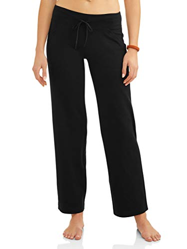 Athletic Works Women's Relaxed Fit Dri-More Core Cotton Blend Yoga Pants, Black, XXL Petite