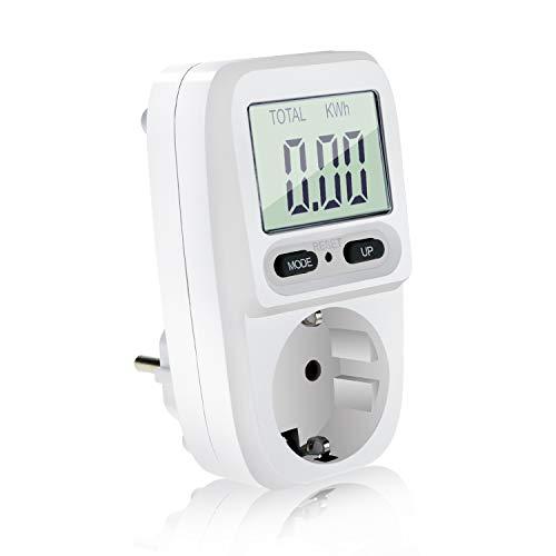 Homga Energiekostenmessgerät Digitaler Energiekosten-Messer Leistungsmessgerät Stromkostenmessgerät mit LCD Bildschirm, Stromzähler für steckdose,Überlastsicherung, Maximale Leistung 3680W