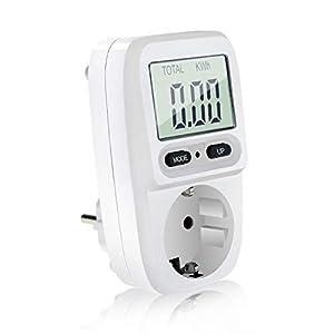 Medidor de potencia, Homga medidor de consumo de energía de enchufe, analizador digital de costos de electricidad, medidor amperio de voltaje de vatio con pantalla LCD y protección de sobrecarga