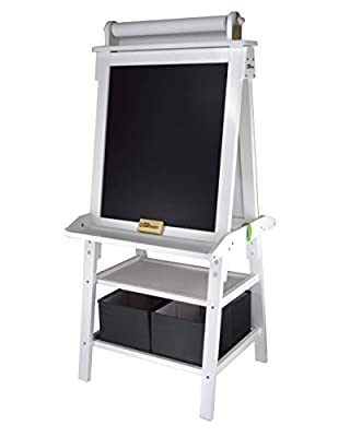 Little Partners 2-Sided A-Frame Art Easel with Chalk Board, Dry Erase, Storage, Paper Feed and Accessories for Toddlers (Soft White)