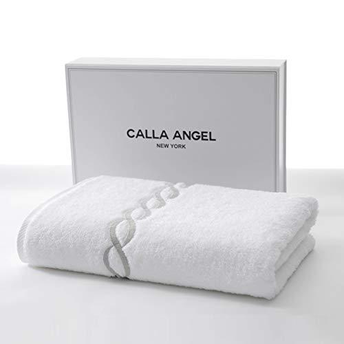 Calla Angel New York バスタオル 高級綿 エジプト綿 超厚手 大判 白 海外 人気 ギフト 箱入り ホワイト(シルバーチェーン柄) 1枚
