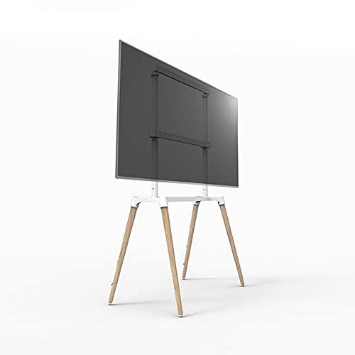 Soporte de TV Soporte de tv de televisión móvil Soporte de soporte TV Montaje con 4 pies de madera para 55-75 pulgadas LED, LCD, plana oled y curvedtvs Base de madera resistente con cable anti-punta S
