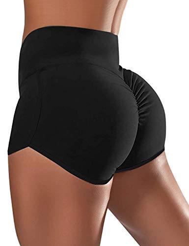 GRAPENT Women's Black High Waist Elastic Waistband Scrunch Butt Lift Board Shorts Swim Shorts Trunks Boyleg Tankini Swimsuit Bottoms Size Large