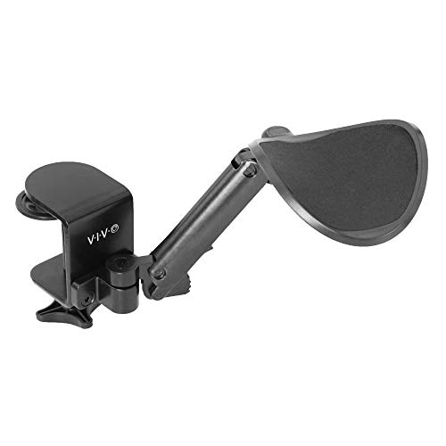 VIVO Black Universal Clamp-on Adjustable Armrest, Desk Cradle Rotating Elbow Cushion, Above Table Extension Platform Arm Support, MOUNT-ARM01