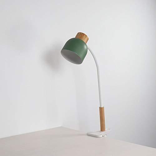 LZRDZSWYXGS Lámpara de mesa simple de escritorio con cuello de cisne, lámpara de escritorio artesanal de madera maciza con fijación de abrazadera, lámpara de mesa plegable regulable - Puerta de rica