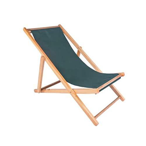 Outdoor Garden Sun Lounger, Wood Folding Deck Chair Siesta Chaise Longue Collapsible Recliner Chair for Balcony Beach (Color : Green)
