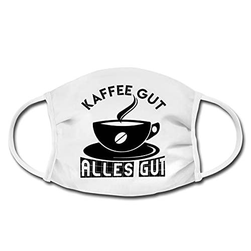 Spreadshirt Kaffee Gut Alles Gut Lustiger Spruch Mund-Nasen-Bedeckung, Weiß