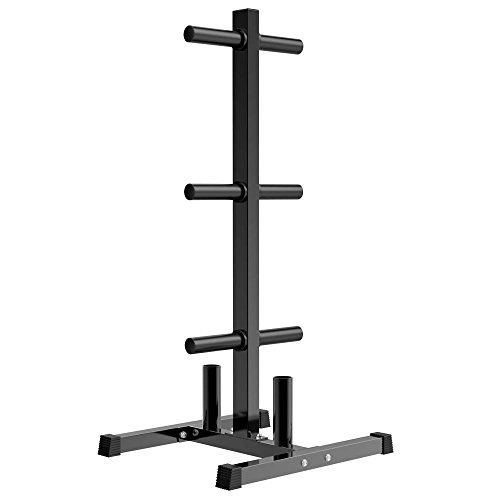 YAHEETECH 2in Weight Plate Rack Tree & 2 Barbell Bar Holders Olympic Weight Organizer Storage Stand, Holds Up to 882 lbs