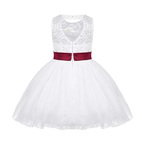 iixpin Baby-Mädchen Prinzessin Kleid Taufkleidung Blumenmädchenkleid Kinder Spitze Kleid Blumen Tüll Kleid Herz-Rücken-Frei Kleider für Party, Hochzeit Gr.92-164 Wein Rot 86-92