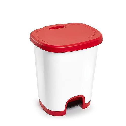 CABLEPELADO Cubo Basura plastico Apertura Pedal 27 litros Rojo