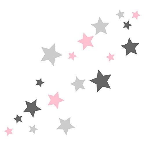 30 Stück selbstklebende Sterne Aufkleber, Mix-Set pastellrosa matt, grau, Fensterbild/Fensteraufkleber, Wandtattoo 62s1