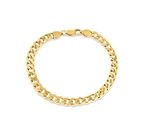 Tuscany Silver Collar de plata de ley 1 micrón chapado en oro amarillo de 6,2 mm para hombre, Chapado en oro,