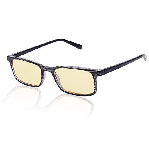 Avoalre Computerbrille Herren Anti Blaulicht PC Brille - Brillen mit Blaulichtfilter - Anti-Müdigkeit - UV-Schutz - für Arbeitsplatz Handy und Fernseher Bildschirmbrille (Streifen Rahmen)