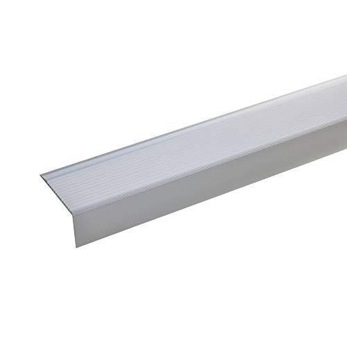 acerto - 51025 Aluminium Treppenwinkel-Profil - 100cm, 28x50mm, silber I Rutschhemmend I Robust I Leichte Montage I Treppenkanten-Profil, Treppenstufen-Profil aus Alu Treppenprofil Treppenkantenschutz