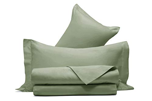 Completo letto lenzuola in raso di puro cotone Made in Italy MATRIMONIALE VERDE OLIVA