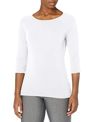 Hanes Women's Stretch Cotton Raglan Sleeve Tee, White, Small