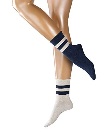ESPRIT Damen Socken Sporty Melange Stripe 2er Pack - Baumwollmischung, 2 Paare, Weiß (Sortiment 40), Größe: 39-42