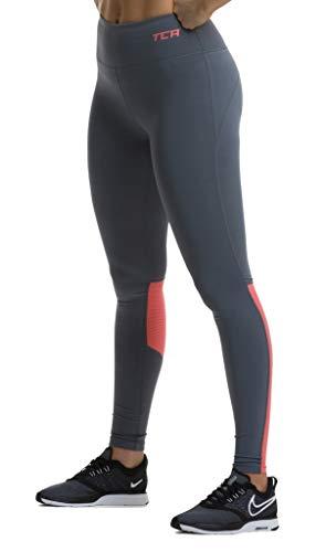 TCA Hex Mesh Damen Laufhose/Leggings mit Reißverschlusstasche - Hellgrau/Koralle, M