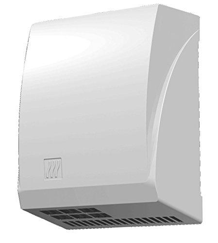 JVD - Sèche-Mains Automatique à Air Chaud Blanc Epoxy - Adapté à des fortes fréquentations - Moteur à Induction Silencieux 70 dB - Anti-vandalisme Capot en Aluminium