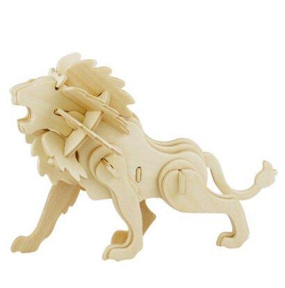 LVEDU Rompecabezas de madera 3D León Woodcraft Kit de construcción Juguetes de madera para niños y adultos