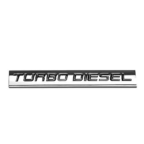 UrMarketOutlet Turbo Diesel Black/Chrome Aluminum Alloy Auto Trunk Door Fender Bumper Badge Decal Emblem Adhesive Tape Sticker