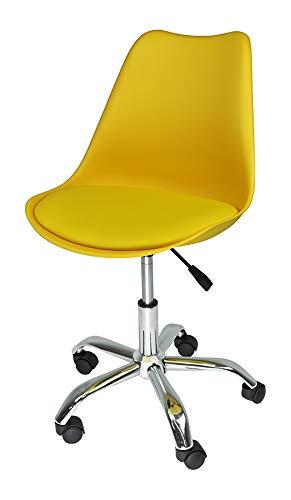 Sedia da Ufficio Girevole, Sedia da scrivania Giallo con rotelle MOD. Sally