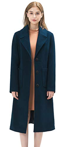 WQI.HAN Women's Premium Wool Blend Single Breasted Long Coat & Trench Coat (Peacock Blue, Large)