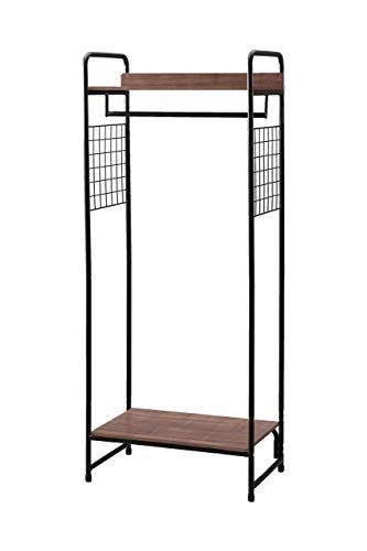 Iris Ohyama, Clothes MDF metal garement accessories support-Garment Rack PI-B4-brown and black, 64 x 40 x 150 cm, Wood, 2 shelves and side panels