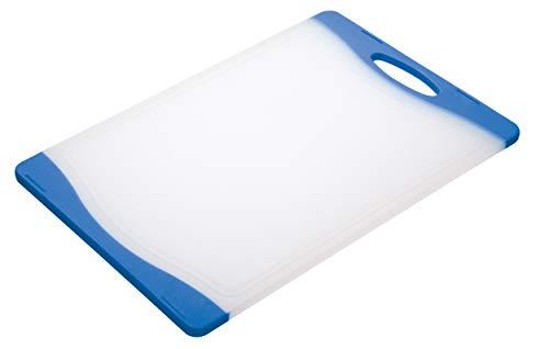Colourworks Tabla de cortar reversible, 36.5 cm x 25 cm, color Blanco y Azul