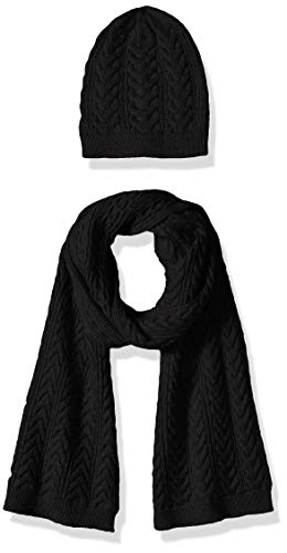 Amazon Essentials Women's Cable Knit Hat and Scarf Set, Black, One Size