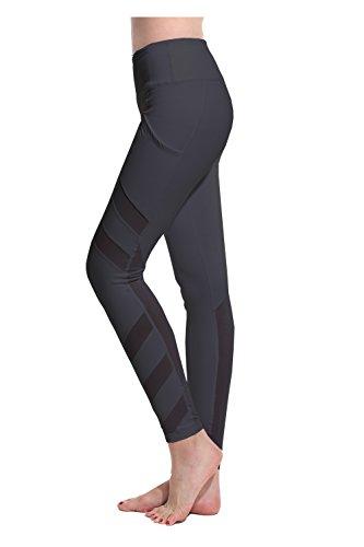 Lotus Instyle Damen Sports Leggings Yoga Laufen Hose mit Netze (M, Black1)