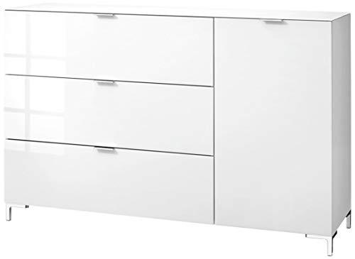 CS Schmalmöbel 45.012.505/031 Highboard Cleo Typ 15, 163 x 50 x 108 cm, weiß/weißglas
