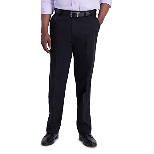 Haggar Men's Big-Tall Premium No Iron Classic Fit Expandable Waist Plain Front Pant Black 60x30