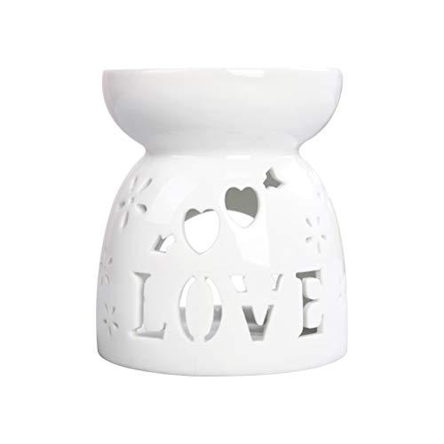 PEPENE Esencia de cerámica quemador de aceite con amor corazón vela hueco aromaterapia estufa difusor de aceite té vela luz titular para el hogar oficina