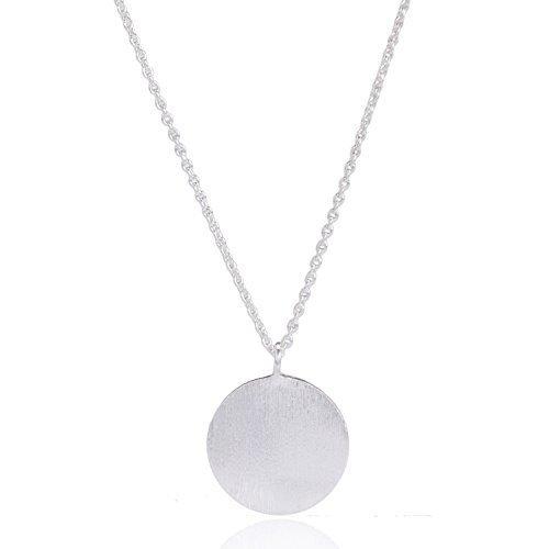Pernille Corydon Kette mit Plättchen für Damen - Silver Coin Serie Halskette Kreis Anhänger - Kettenverlängerung 925 Silber - N002s