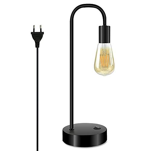 Bonlux Lámpara de mesa Townshend retro, lámpara de mesa vintage en diseño industrial, color negro, portalámparas: E27, incluye interruptor, 8 W, 2700 K, LED blanco cálido