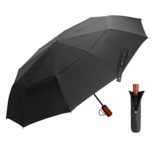 Paraguas Plegable Automático Negro, EKOOS Paraguas Plegable Paraguas Automático con Doble Cubiertapara,...