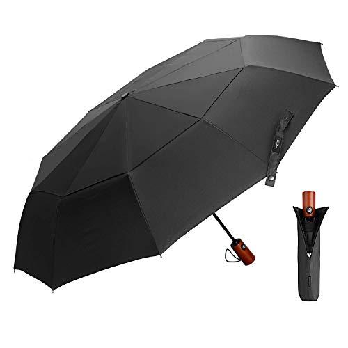 EKOOS Regenschirm Taschenschirm Automatik Groß Winddicht Doppel Baldachin 210T Stoff Auf-Zu-Automatik10 Rippen mit Fiberglas Gestänge (Schwarz)